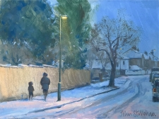 Evening snow, Carshalton  -  6x8