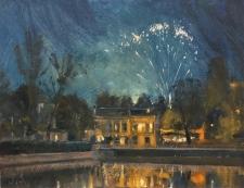 Fireworks over Carshalton Ponds  -  6x8