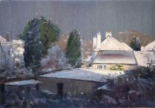 Winter rooftops  -  7x10