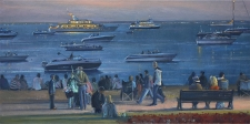 Arriving for the fireworks Cowes Week, IOW  -  12x24