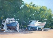 Boat maintenance, Shalfleet, IOW  -  10x14