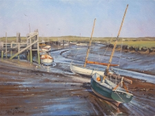 On the mud, Morston Quay, Norfolk  -  12x16