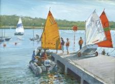 Prepairing to sail, Yarmouth, IOW  -  9x12