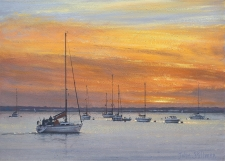 Sunset, Yarmouth, IOW  -  10x14