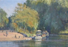 By the river, Shepperton  -  7x10