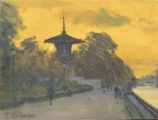 Evening at the Peace Pagoda, Battersea Park  -  6x8