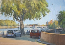 Evening by the river, Putney  -  7x10