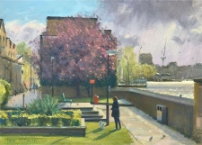 Sunshine between showers, Greenwich  -  10x14
