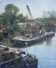 The crane barge, Brentford -  12x10